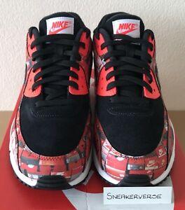 Nike x Atmos Air Max 90 Print  We Love Nike  UK 9.5 Black Red AQ0926 ... 9e4170b14
