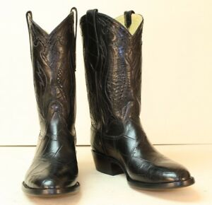 0c14a3433a8 Details about Handmade Custom Cowboy Boots Black Alligator Belly Men's 10D  Large Tiles NEW