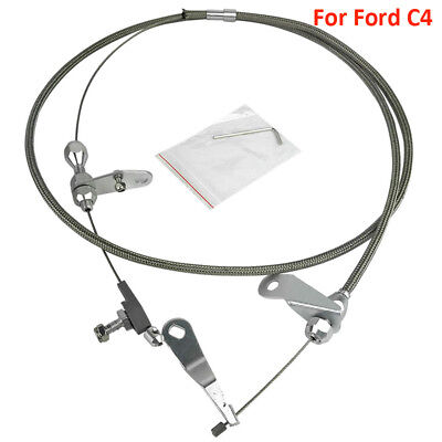Braided Polished Stainless Kick Down Cable For all C4 Transmissions Ford c-4 kit