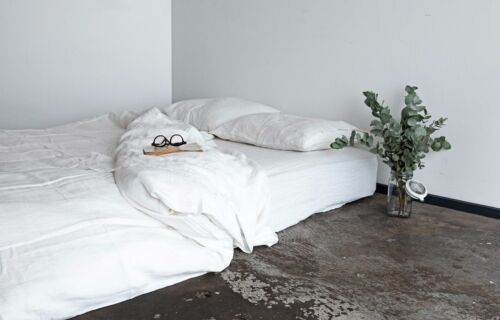 White Linen 5pc Bedding Set Available At Best Price US Twin Size