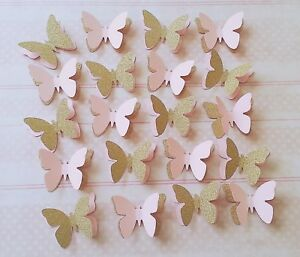 20 X Pink And Gold Party Table Decorations 3d Butterflies Baby