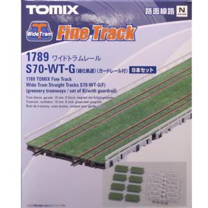 Tomix-1789-Wide-Tram-Straight-Track-S70-WT-G-f-8-pcs-w-Guardrail-N