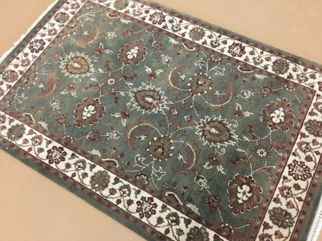 4 X 6 Green Ivory Ziegler Fine Oriental Area Rug Hand Knotted Wool Floral Ebay