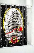 Authentic Sourpuss Clipper Ship Pirate Anchor Shower Curtain Bath Punk Tattoo