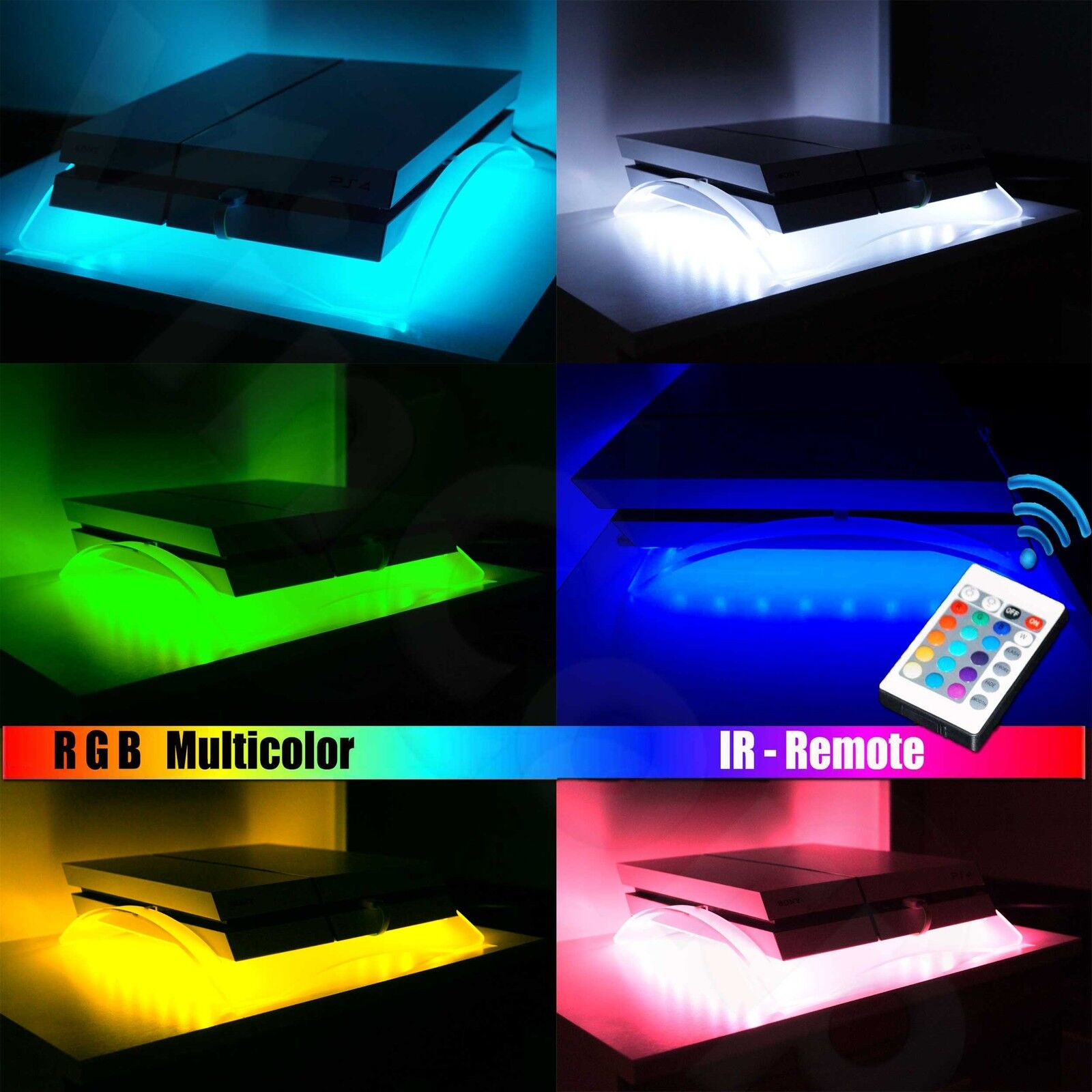 acrylglas design plexiglas st nder halter ps4 playstation 4 rgb beleuchtet led ebay. Black Bedroom Furniture Sets. Home Design Ideas