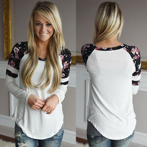 New-Women-Floral-Splice-Printing-Long-Sleeve-Tops-Cotton-Pullover-Blouse-T-Shirt