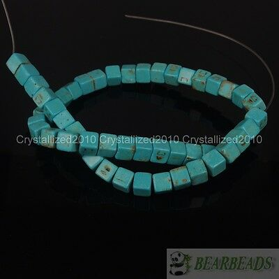 Blue Howlite Turquoise 8mm Square Cube Loose Spacer Beads 15.5 Inches Strand