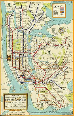 "1948 LARGE NEW YORK CITY SUBWAY MAP MTA MANHATTAN BROOKLYN ART DECO 44"" by70"""