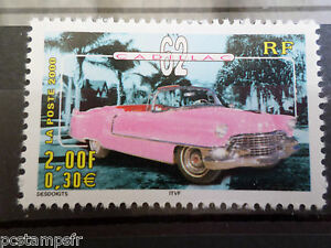 FRANCE-2000-timbre-3323-VOITURES-ANCIENNES-CADILLAC-62-neuf-CARS-VF-MNH