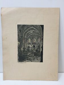 Vintage-034-The-Cathedral-Altar-034-Etching-Print-4-034-x-6-034-Image-8-1-2-034-x-11-034-Paper