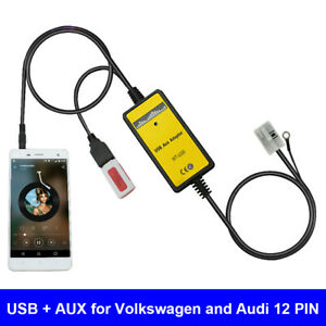 Car-Audio-USB-AUX-Adapter-3-5mm-Interface-CD-Changer-For-Tiguan-Touran-Golf-TT