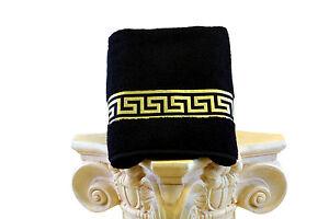 Mäander Handtücher 100% Baumwolle Meander Medusa Schwarz-Gold towel versac