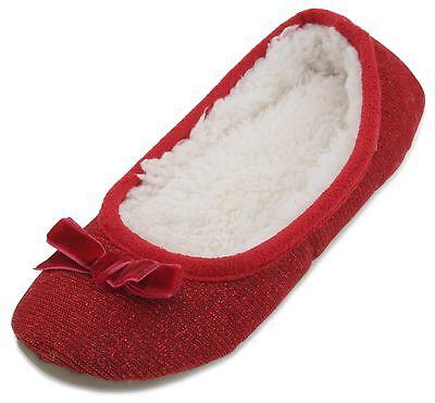 Slumberzzz Girls Sparkle & Bow Ballet Slippers