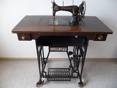 SchöN Antike Dürkopp Schwingschiffchen Nähmaschine, Kl. 4, Versenkbar,mit Untergestell Verkaufsrabatt 50-70%