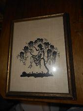 "Vntg Hand Cut Paper Silhouette Art Picture 10-3/4"" x 13-3/4"" Convas Fabric Bkgr"