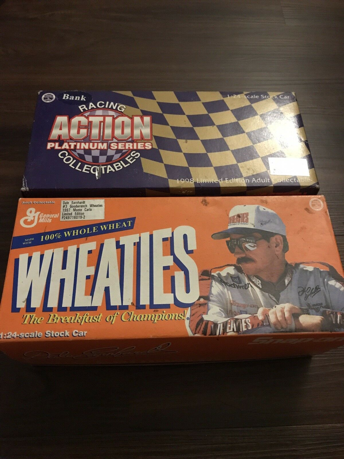 Two Dale Earnhardt limited edition collectible cars. One rare Wheaties livery