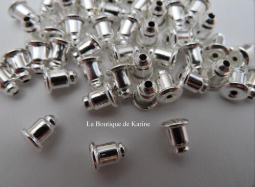 30 FERMOIRS EMBOUTS BOUCLES D/'OREILLES METAL ARGENTE CLAIR BIJOUX PERLES