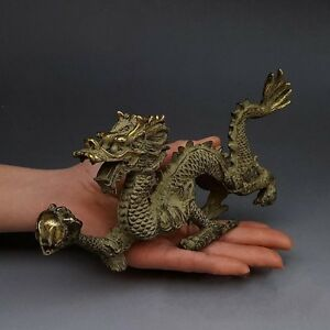 Chinese Fengshui Bronze Zodiac Year Dragon Dragons Animal Hold Bead Statue N