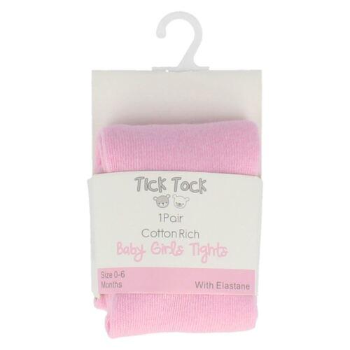/'Tick Tock/' Pink Baby Girls Plain Tights.