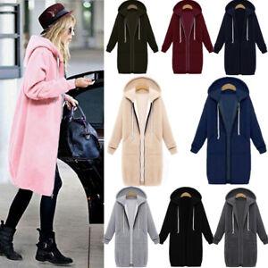 Women Long Sleeve Zip Up Hooded Hoodie Jacket Jumper Cardigan Coat Plus Size
