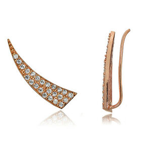 Rose-Gold-Flashed-Sterling-Silver-CZ-Horn-Crawler-Climber-Hook-Earrings