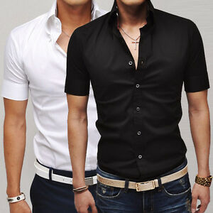 Stylish-Design-Mens-Short-Sleeve-Tops-Button-Shirts-Casual-Slim-Fit-Dress-Shirt