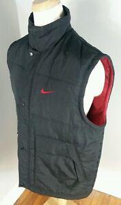 6d3cd55812f7 Vtg 90s Nike Puffer Vest Jacket Coat L Black OG Hip Hop Gangster ...