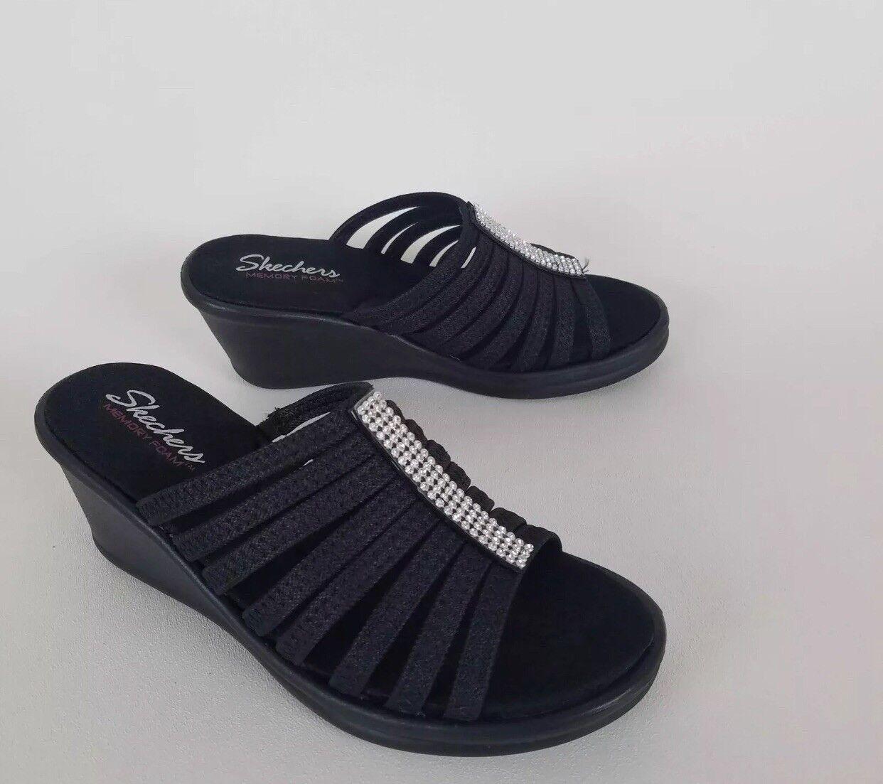 41b80846bc2 Womens Skechers 38562 Rumblers Hotshot Rhinestone Wedge Platform Sandals  Slides Black 11 for sale online