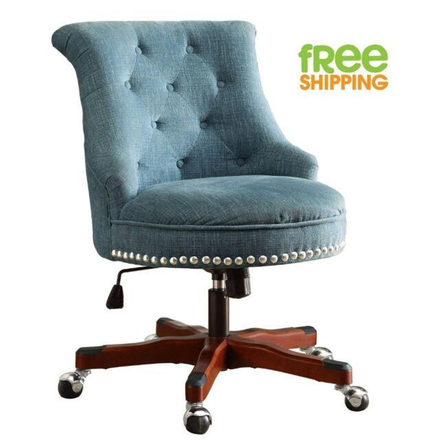 Blue Upholstered Office Chair Walnut Wood Work E On Tufted Swivels New