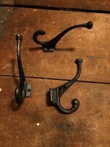 2+ Black Cast Iron Coat Hooks Hook Hat Antique Vintage Style Ornate Hardware