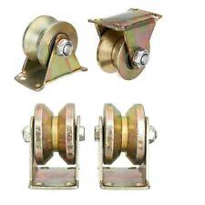 4pcs 2/'/' Sliding Gate Roller Steel V Type Wheel Track Rail With Bracket 660lb