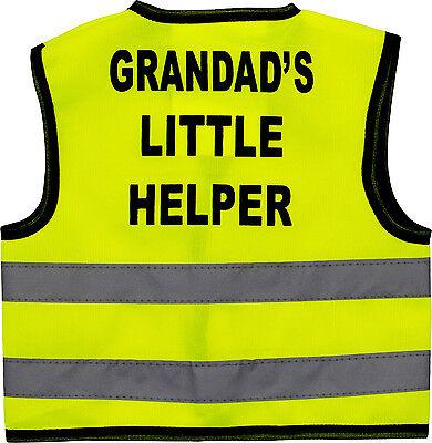 Bambini Gilet Alta Visibilità Hi Vis Gilet Grandad's Little Helper Print Sul Retro-