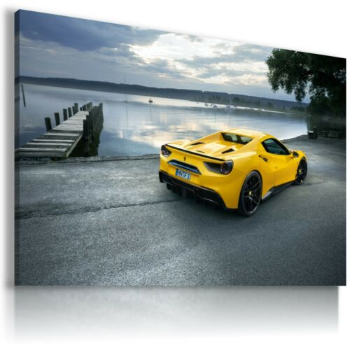 FERRARI ITALIA YELLOW LAKE Cars Large Wall Art Canvas Picture AU219 MATAGA .