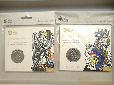 2019 Royal Mint Queens Beasts Falcon of Plantagenets BU £5 Five Pound Coin Pack
