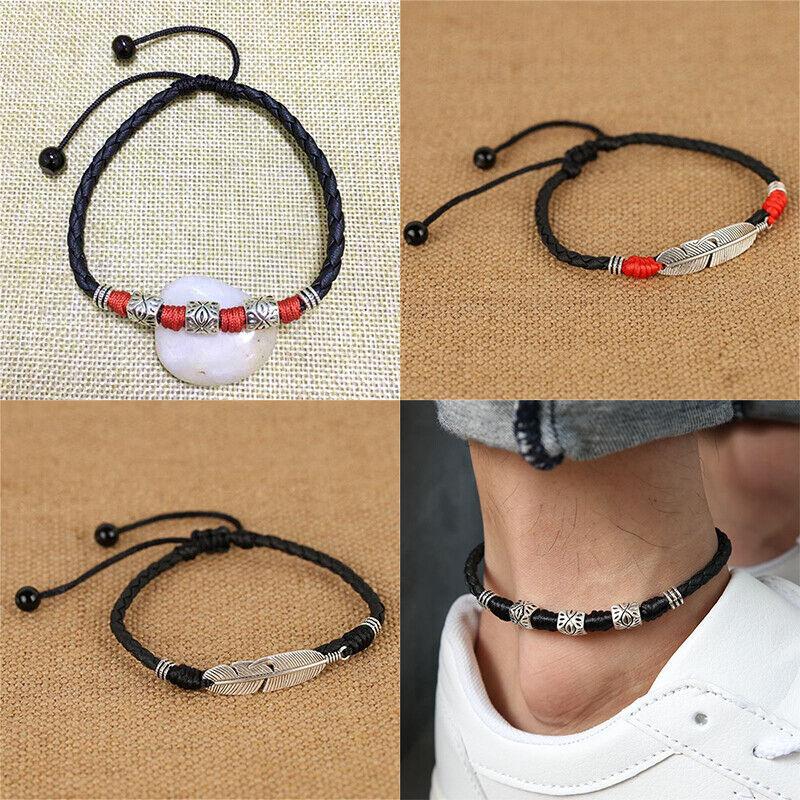 Lucky Foot Rope Women Men Jewelry Adjustable Handmade Simple Woven