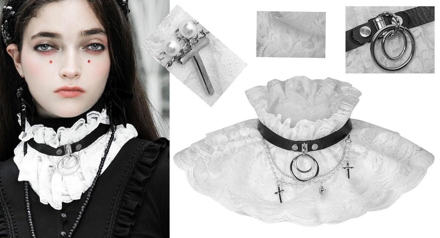 Lace ruff collar choker gothic lolita victorian retro pearls cross ring PunkRave