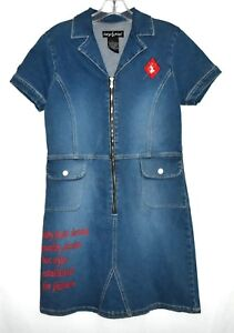 Dress Blue Small Spandex Phat Baby Xl Size Zipper Runs Marked Denim Cotton Pxgq51Y