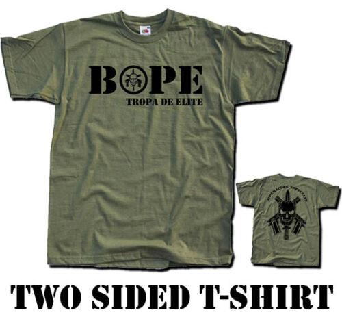 BOPE Tropa de Elite Two Sided T SHIRT Military Policiais Especiais Sizes S 5XL