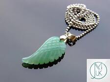 Aventurine Gemstone Angel Wing Pendant Necklace Natural Chakra Healing Stone