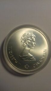 CANADA-1976-MONTREAL-OLYMPIC-0-925-SILVER-5-DOLLARS-COIN-CANOEING-UNCIRCULATED