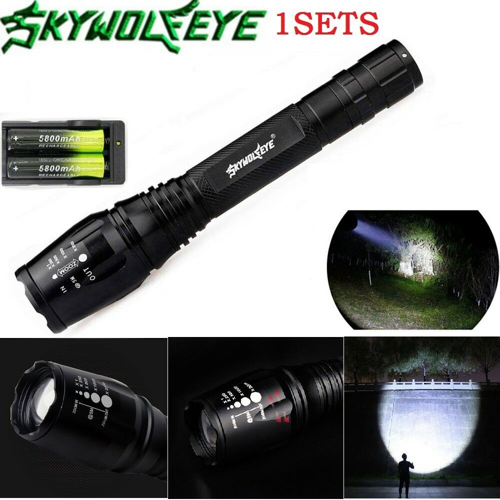 90000LM T6LED Flashlight Rechargeable Zoomable Torch+18650 Battery/&Dual Charger