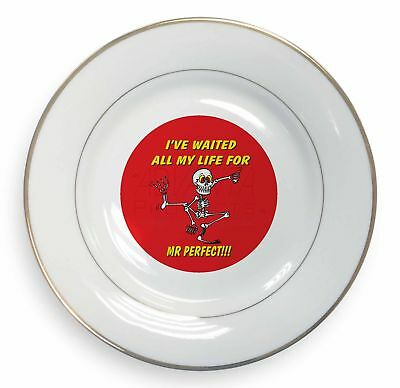 Flight Tracker 'waiting For Mr Perfect' Gold Rim Plate In Gift Box Christmas Present, Fun-15pl