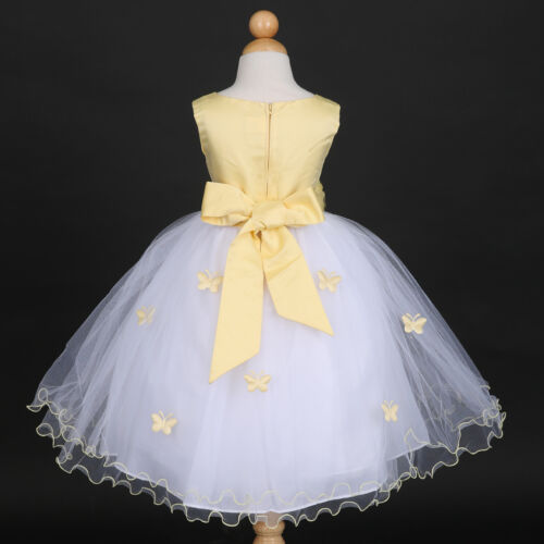 Belle Yellow Pageant Bridesmaids Wedding Flower Girl Dress 6M 12M 18M 2 4 6 8 10
