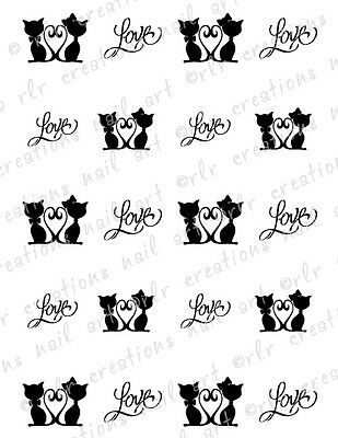 20 NAIL DECALS *CATS IN LOVE* BLACK CATS W/ HEART TAILS WATER SLIDE NAIL DECALS