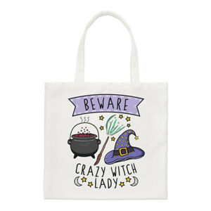 Beware-Crazy-Witch-Lady-Regular-Tote-Bag-Funny-Joke-Magical-Spell-Shopper