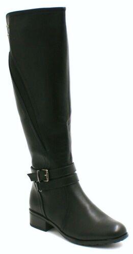 UK Fashion Womens Ladies Knee High Riding Biker Boots Block Low Heels Shoes Size
