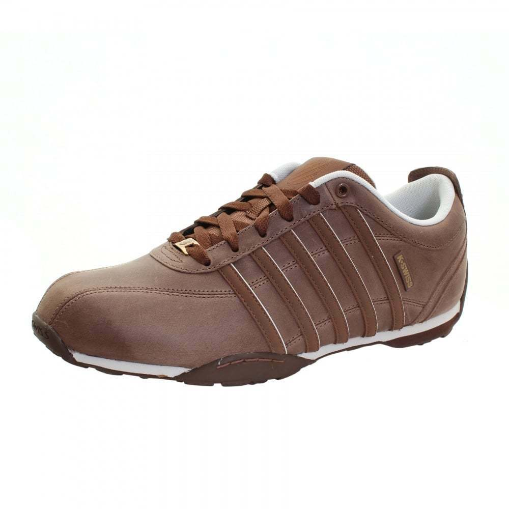 MENS K-SWISS ARVEE 1.5 LEATHER TRAINERS - UK SIZE 7 - BISON BROWN BIRCH.