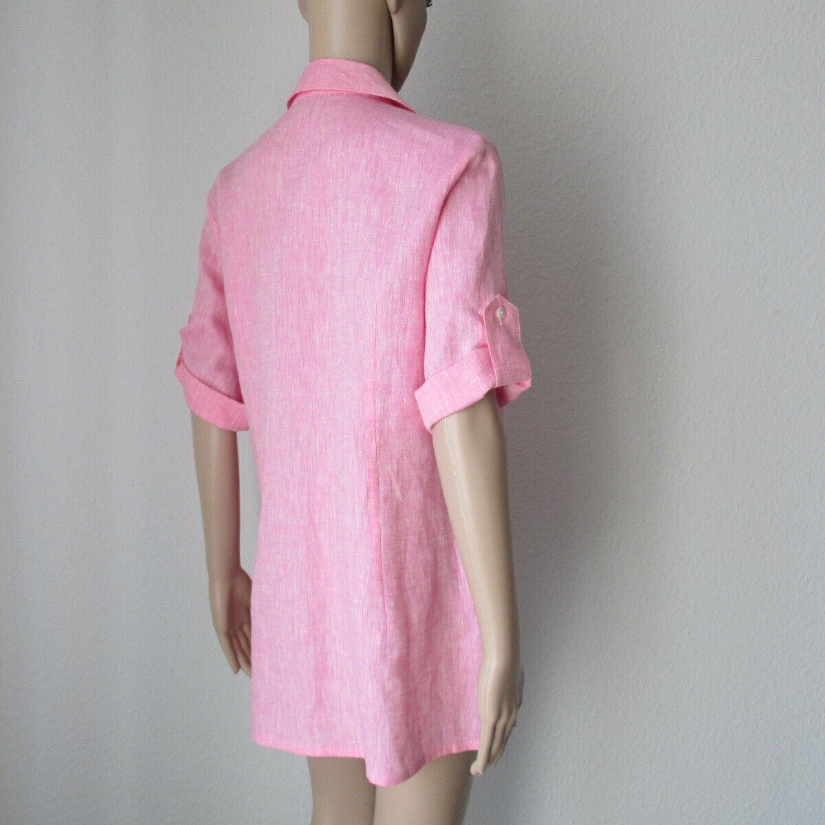 B. M. Company Tunika aus Leinen, lang in der Farbe Rosa, Größe 36