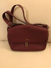 New Fossil Maroon Pebble Leather Preston Flap Crossbody Messenger Bag