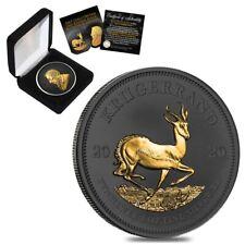 2020 South Africa 1 oz Silver Krugerrand Black Ruthenium 24K Gold Edition (w/Box
